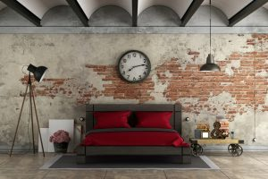 Master bedroom in industrial style with black double bad - 3d rendering